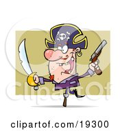 Clipart Illustration Of A Hyper Peg Legged Pirate Guy Wearing A Jolly Roger Hat With The Skull And Crossbones And Waving A Sword And Pistil Around