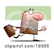 Poster, Art Print Of Lucky Businessman In Brown Carrying A Leather Briefcase And Walking To The Office