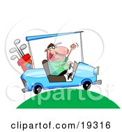 Excited Man Driving A Blue Golf Car With His Clubs In The Back Up Over A Green Hill On A Golf Course