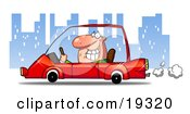 Clipart Illustration Of A Man Smiling And Passing By While Driving His New Red Compact Car Through The City At Night