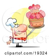 Clipart Illustration Of A Happy Bakery Chef Holding Up A Beautifully Decorated Cake After Completing The Icing by Hit Toon