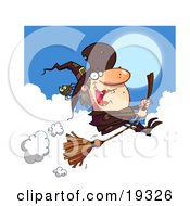 Clipart Illustration Of An Ugly Female Witch In Brown With A Spider On Her Hat Flying Through The Clouds On Her Bromstick