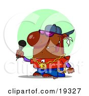 Clipart Illustration Of An African American Male Rapper Wearing Shades A Hat And Bling Rapping Into A Microphone While Performing On Stage At A Music Concert by Hit Toon