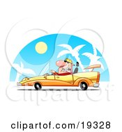 Clipart Illustration Of A Rich Blond Dude Driving A Hot Set Of Wheels A Convertible Yellow Car by Hit Toon