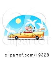 Poster, Art Print Of Rich Blond Dude Driving A Hot Set Of Wheels A Convertible Yellow Car