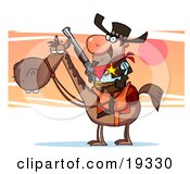 Clipart Illustration Of A Western Sheriff Cowboy With A Golden Badge Holding A Rifle And Riding Horseback While Searching For Wanted Outlaws by Hit Toon
