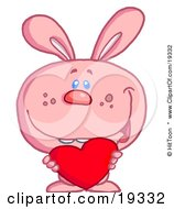 Clipart Illustration Of A Romantic Pink Valentines Day Bunny Rabbit With Buck Teeth Holding A Red Heart