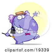Purple Tap Dancing Elephant In A Hat And Bow Tie Holding A Cane