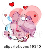 Clipart Illustration Of A Love Crazed Pink Winged Elephant In A Loin Cloth Flying With A Bow And Arrow Waiting To Shoot Someone Like Cupid