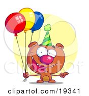 Poster, Art Print Of Happy Bear Wearing A Green Party Hat And Holding Colorful Balloons At A Birthday Party