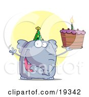 Clipart Illustration Of A Party Animal An Elephant Wearing A Green Party Hat And Holding Up A Birthday Cake With A Lit Candle by Hit Toon