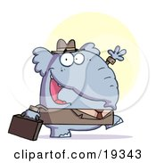 Poster, Art Print Of Gray Elephant Business Guy In A Hat And Suit Carrying A Briefcase To Work And Waving