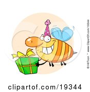 Poster, Art Print Of Grinning Bumbe Bee With A Stinger Wearing A Pink Party Hat And Carrying A Green And Yellow Birthday Present To A Bday Party