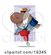 Construction Worker Hippo In A Hardhat And Suit Riding On A Jack Hammer While Working