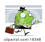Poster, Art Print Of Green Monster With Yellow Spots Wearing A Business Suit And Hat And Carrying A Briefcase To Work