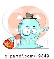 Clipart Illustration Of A Goofy Blue Toothy Ghost Sticking His Tongue Out And Waving While Trick Or Treating With A Pumpkin Bucket by Hit Toon