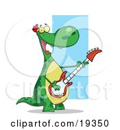 Poster, Art Print Of Happy Green Dinosaur With A Yellow Belly Having A Good Time While Rocking Out On Stage And Playing His Guitar In His Music Band