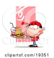 Hungry Boy In Red Licking His Lips And Carrying A Tray Of Fast Food With A Cheeseburger French Fries And A Soda