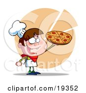 Clipart Illustration Of A Young Happy Male Chef In A Chefs Hat And Apron Proudly Holding Up His Gourmet Pepperoni Pizza Pie In His Pizza Parlor