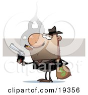 Bank Robber Carrying A Money Bag Full Of Cash And Holding A Pistil While Smoking A Cigar After Stealing From The Bank
