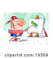 Clipart Illustration Of A Young Painter Guy Wearing A Hat Using A Long Handled Paint Roller To Apply Bright Green Paint To A Canvas On An Easel by Hit Toon