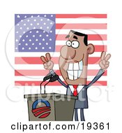 Poster, Art Print Of Smiley Politician Gesturing With Peace Signs And Standing At A Podium After Giving A Speech In Front Of An American Flag