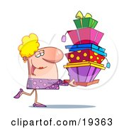 Rich Blond Lady In Pink Happily Carrying A Big Stack Of Birthday Or Christmas Presents For Her Family And Friends