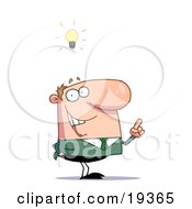 Poster, Art Print Of Creative Thinking Businessman In A Green Suit And A Lighbulb Over His Head