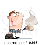 Clipart Illustration Of A Perky Businessman With A Briefcase And Cup Of Hot And Steany Caffeinated Coffee Heading To His Office