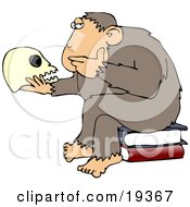 Clipart Illustration Of An Intelligent Monkey Gazing At A Human Skull In His Hand While Sitting On A Pile Of Books A Parody Of Hugo Rheinholds Philosophizing Ape Sculpture That Was Created In 1892 by Dennis Cox