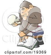 Clipart Illustration Of A Chimp In Thought Sitting On Top Of A Stack Of Books And Staring At A Skull A Parody Of Hugo Rheinholds Philosophizing Ape Sculpture That Was Created In 1892 by Dennis Cox