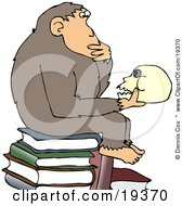 Poster, Art Print Of Smart Chimpanzee Sitting On Top Of A Stack Of Books And Gazing At A Skull A Parody Of Hugo Rheinholds Philosophizing Ape Sculpture That Was Created In 1892