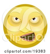Clipart Illustration Of A Mean Yellow Smiley Face Bully Grinning