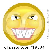 Clipart Illustration Of A Mischievous Yellow Smiley Face Grinning While Thinking Evil Thoughts