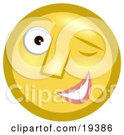 Clipart Illustration Of A Flirty Winking Yellow Smiley Face