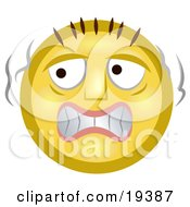 Clipart Illustration Of A Scared Yellow Smiley Face Trembling Like A Chicken