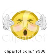 Furious Yellow Smiley Face With Flushed Cheeks Blowing Smoke Out Of The Ears And Screaming