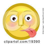 Clipart Illustration Of A Goofy Yellow Smiley Face Teasing And Sticking Its Tongue Out