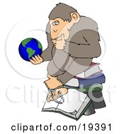 Poster, Art Print Of Monkey In Thought Sitting On Top Of A Stack Of Books And Staring At Planet Earth