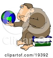 Poster, Art Print Of Chimp In Thought Sitting On Top Of A Stack Of Books And Staring At A Globe Pondering The Universe