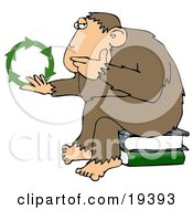 Chimpanzee In Thought Sitting On Top Of A Stack Of Books Rubbing His Chin And Staring At Green Recycle Arrows