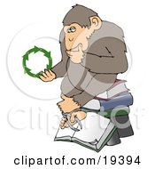Poster, Art Print Of An Environmental Chimpanzee In Thought Rubbing His Chin And Sitting On Top Of A Stack Of Books While Looking At Green Recycling Arrows