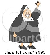 Friendly White Lady Nun In Uniform Waving Hello