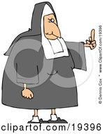 Clipart Illustration Of A White Lady Nun In Uniform Flipping Someone Off For Making Fun Of Her