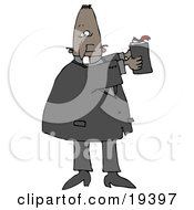 Clipart Illustration Of A Black Male Priest Hodling Up A Bible And Reading From Its Text While Preaching In Church