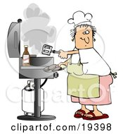 White Lady Wearing A White Chefs Hat Yellow Apron White T Shirt Pink Shorts And Red Sandals Holding A Spatula And Removing Cooked Hamburger Patties From The Gas Grill