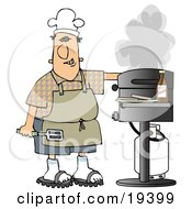 White Guy Wearing Sandals An Apron And A White Chefs Hat Holding A Spatula Cooking Hamburger Patties On A Gas Grill