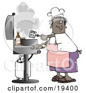 Black Lady Wearing A White Chefs Hat Pink Apron White T Shirt Purple Shorts And Brown Sandals Holding A Spatula And Removing Cooked Hamburger Patties From The Gas Grill