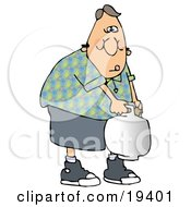 Clipart Illustration Of A Weak White Guy Trying To Carry A Propane Cylinder Tank To The Camp Site For Cooking After Refilling It