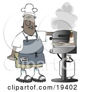 Clipart Illustration Of A Black Guy Wearing A Chefs Hat And Apron Holding A Spatula And Tending To The Barbecue At A Picnic by Dennis Cox